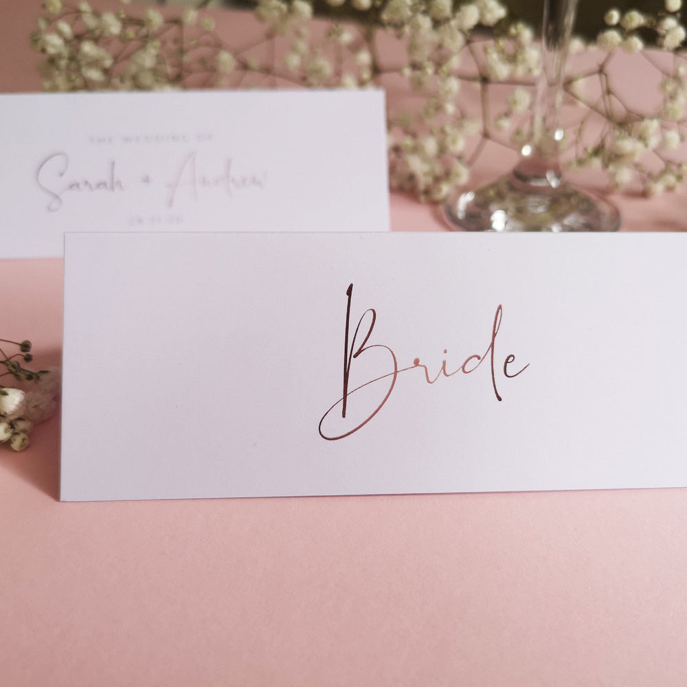 Script place cards , Sienna Mai Personalised Wedding Invitations