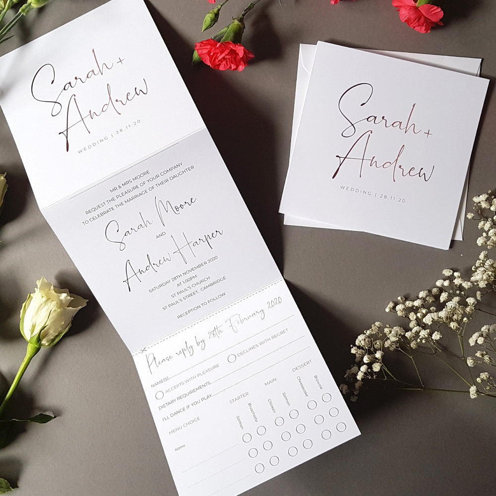 Script Trifold Wedding Invitations