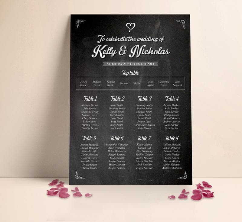 Silver and Black Table plan , Sienna Mai Personalised Wedding Invitations