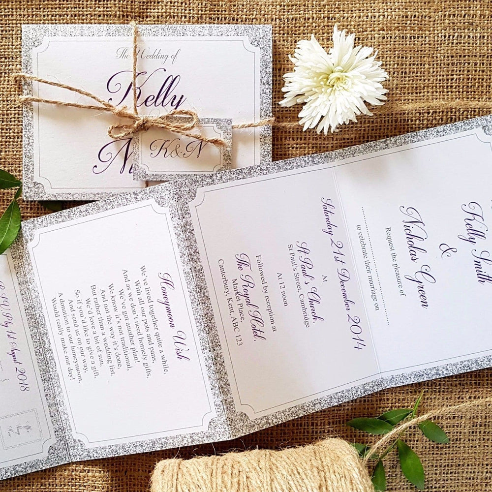 Silver Glitter Concertina Wedding Invitations