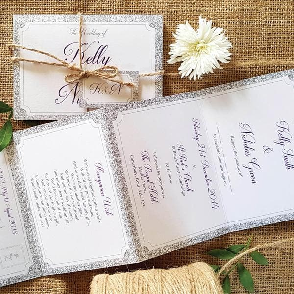 Silver Glitter Concertina Wedding Invitations, Tag & Twine Sample