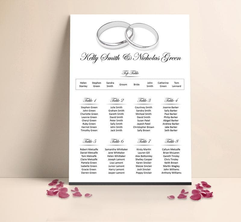 Silver Wedding Rings Table plan , Sienna Mai Personalised Wedding Invitations