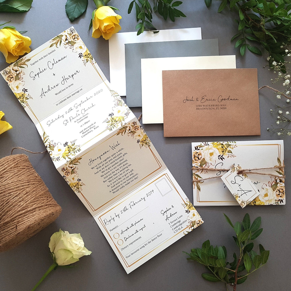 Spring Yellow Gold Floral Concertina Wedding Invitations
