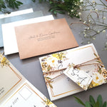 Spring Yellow Gold Floral Concertina Wedding Invitations , Sienna Mai Personalised Wedding Invitations