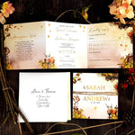 Trifold Autumn Fall Wedding Invitations With Rustic Twine