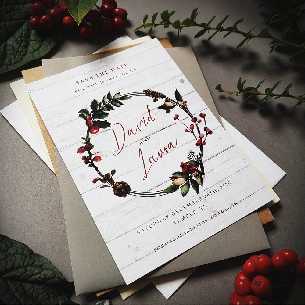 White Christmas winter save the date cards , Sienna Mai Personalised Wedding Invitations
