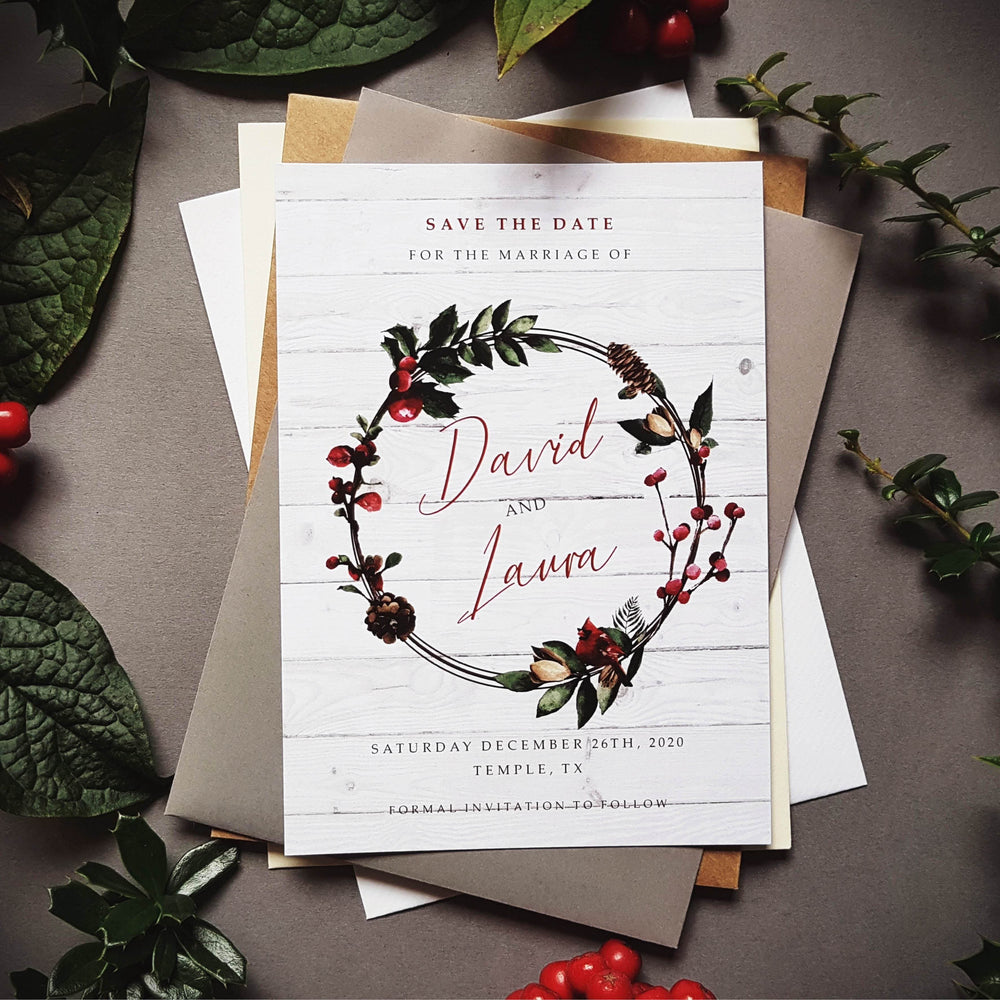 White Christmas winter save the date cards