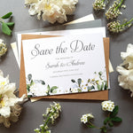 White floral save the date cards