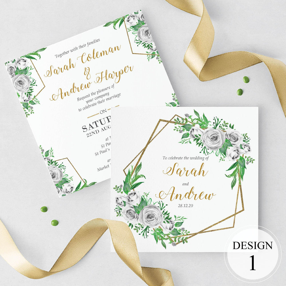 White Rose & Gold Geometric Evening Invitation