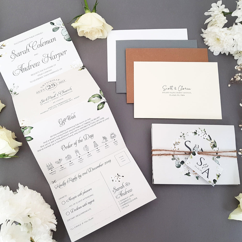 Leafy White Floral Wedding Invitations & Stationery