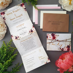 Wild Floral  Concertina Wedding Invitations, Tag & Twine Sample