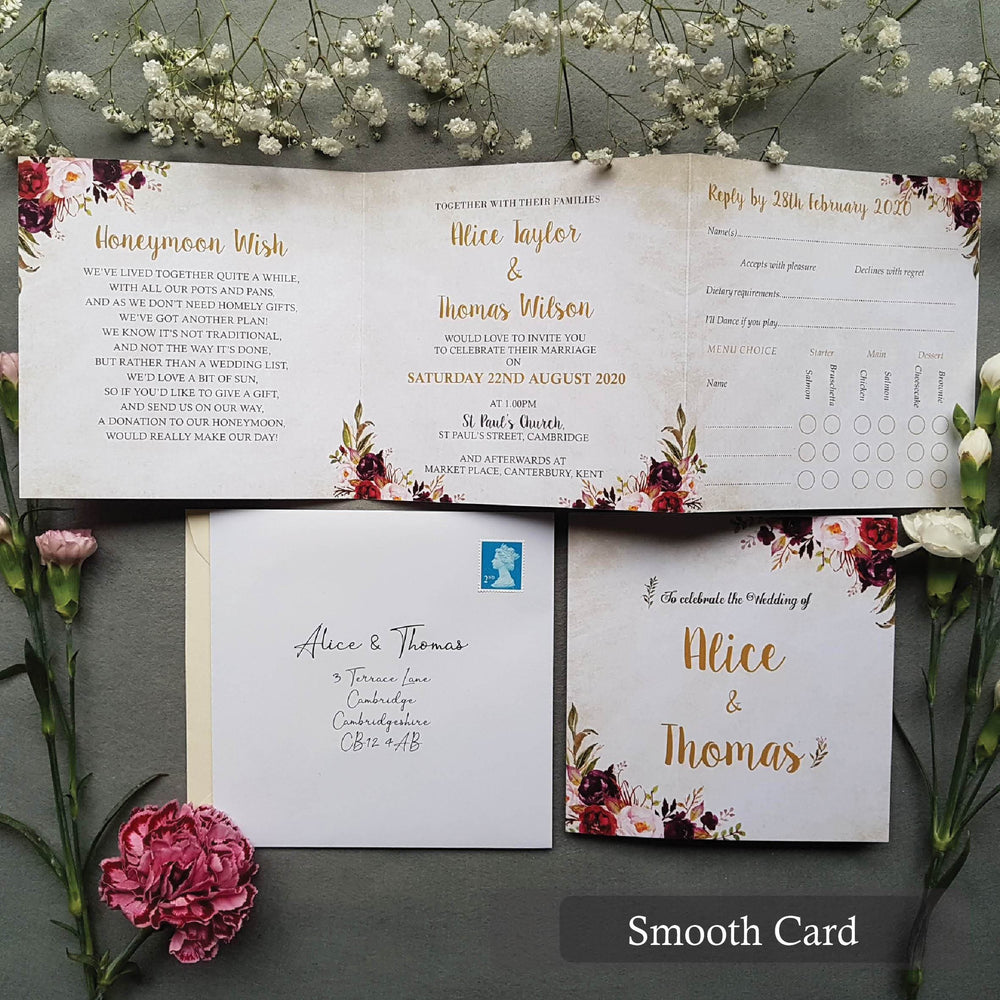 Wild Floral Trifold Wedding Invitations