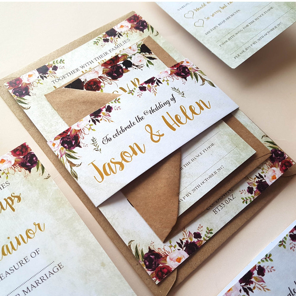Wild Floral Wedding Invitations Sleeve Set Sample , Sienna Mai Personalised Wedding Invitations