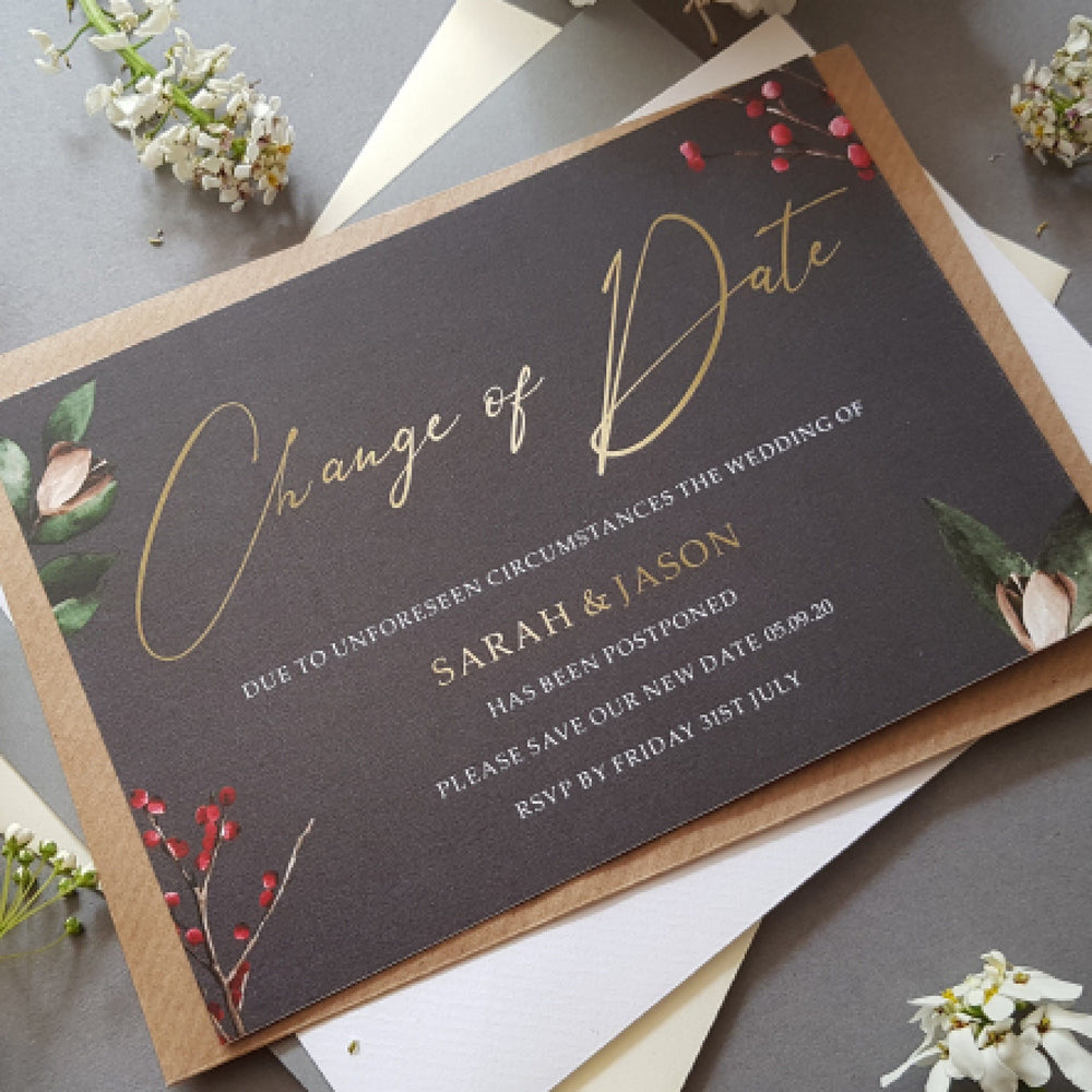 Winter change of date cards , Sienna Mai Personalised Wedding Invitations