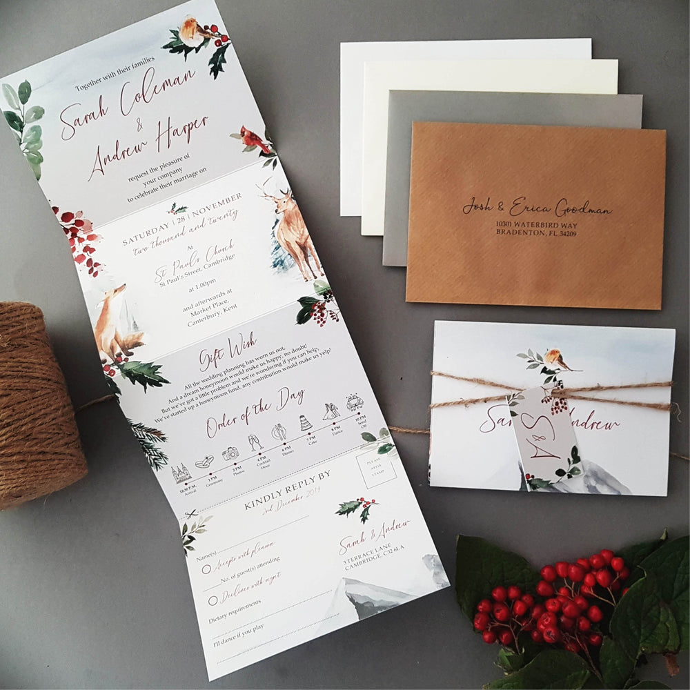 Winter Wedding Invitation Sample , Sienna Mai Personalised Wedding Invitations
