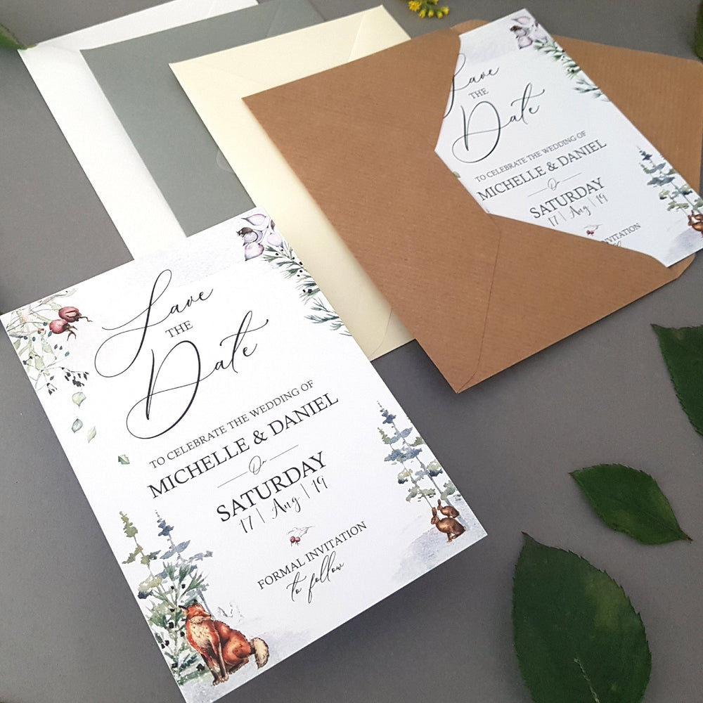 Winter Woodland Wedding Invitations , Sienna Mai Personalised Wedding Invitations