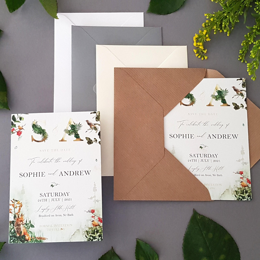 Woodland Save the Date Cards , Sienna Mai Personalised Wedding Invitations
