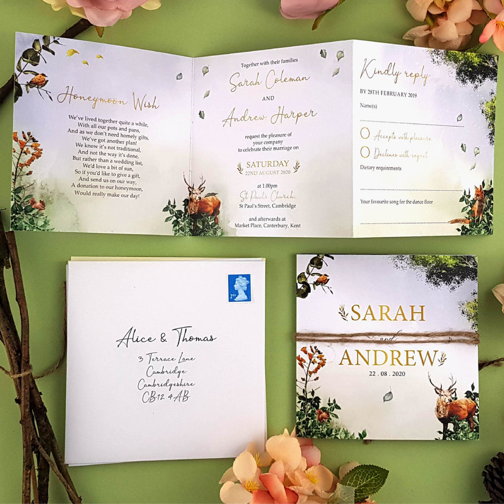 Woodland Trifold Wedding Invitations