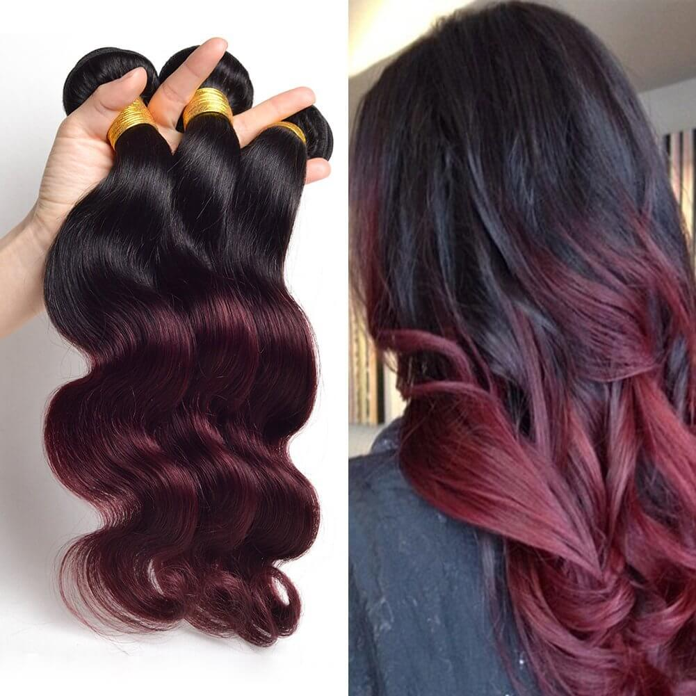 1B/99J Two Tone Colored Ombre Hair 100% Human Hair Straight/Body Wave