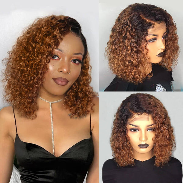 13*6 Lace Front Bob Wig 1b/27 Curly Deep Parting Pre-Plucked Human Hair Wig