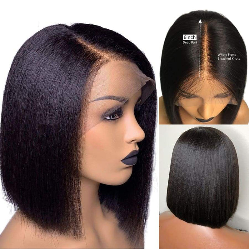 13*6 Lace Front Bob Wig Light Yaki Natural Black Deep Parting Pre-Plucked