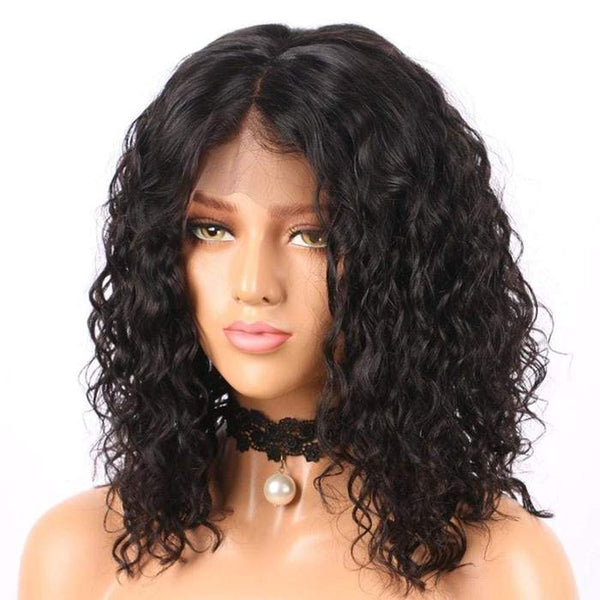 13*6 Lace Front Bob Wig Water Wave Natural Black Deep Parting Pre-Plucked