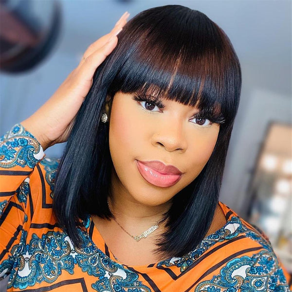 13*6 Lace Front Bob Wig With Bang Silk Straight Natural Black Deep Parting Pre-Plucked