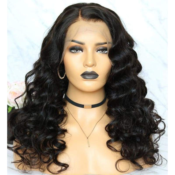 13*6 Lace Front Wig Body Wave Natural Black Deep Parting Pre-Plucked
