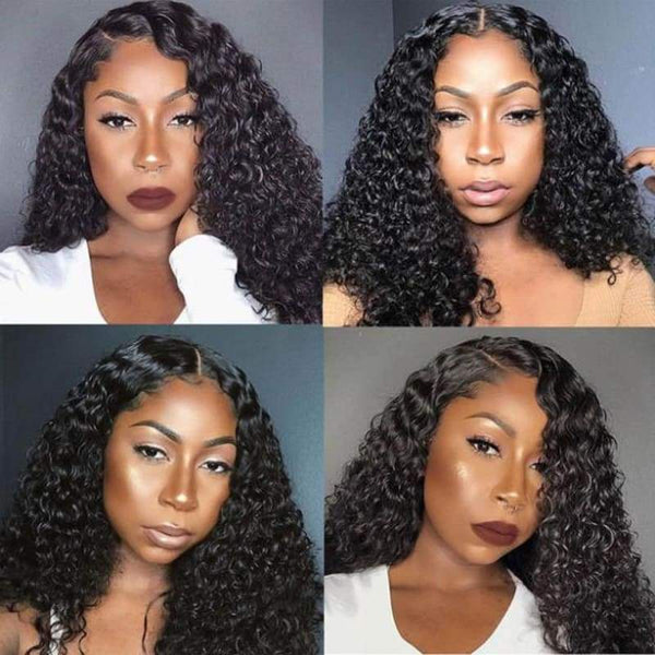 13*6 Lace Front Wig Curly Natural Black Deep Parting Pre-Plucked