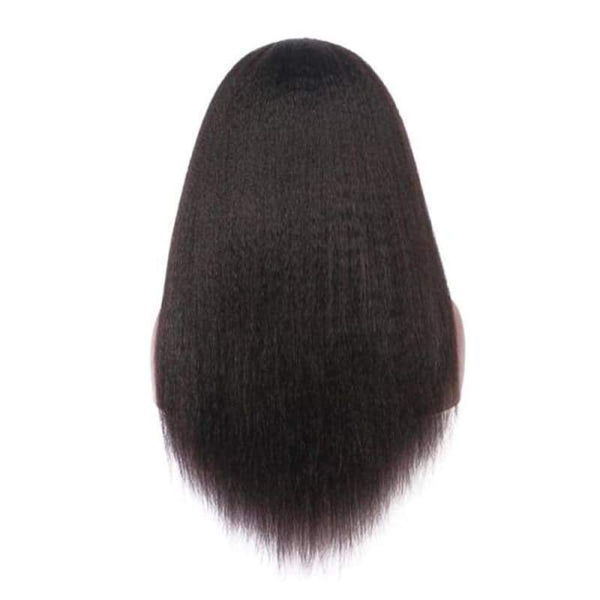 13*6 Lace Front Wig Kinky Straight Natural Black Deep Parting Pre-Plucked