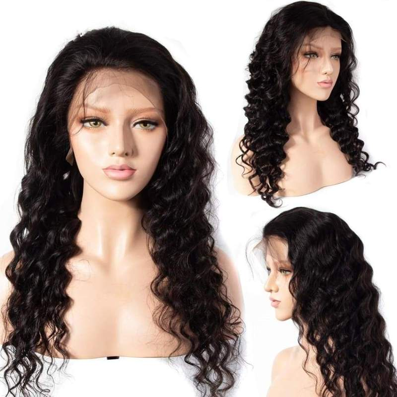 13*6 Lace Front Wig Loose Wave Natural Black Deep Parting Pre-Plucked
