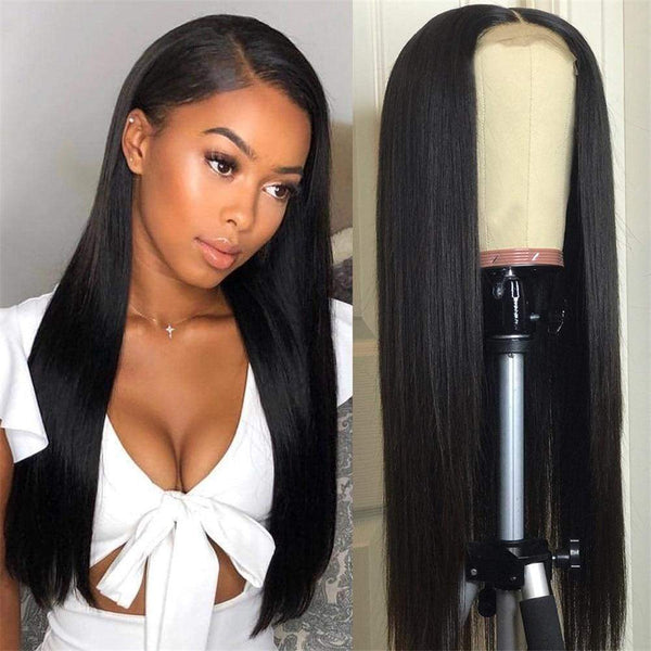 13*6 Lace Front Wig Silk Straight Natural Black Deep Parting Pre-Plucked