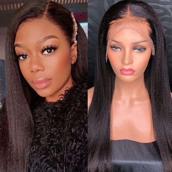 13*6 Lace Front Wig Yaki Straight Natural Black Deep Parting Pre-Plucked
