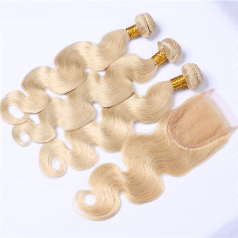 Bleach Blonde 613 Body Wave 3 Bundles with Lace Closure