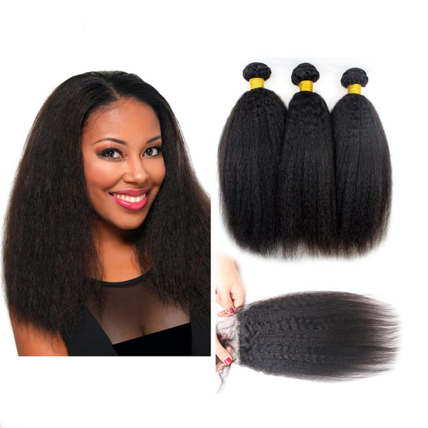 Lace Closure With 3 Bundles Kinky Straight Coarse Yaki Virgin Brazilian Hair Weaves