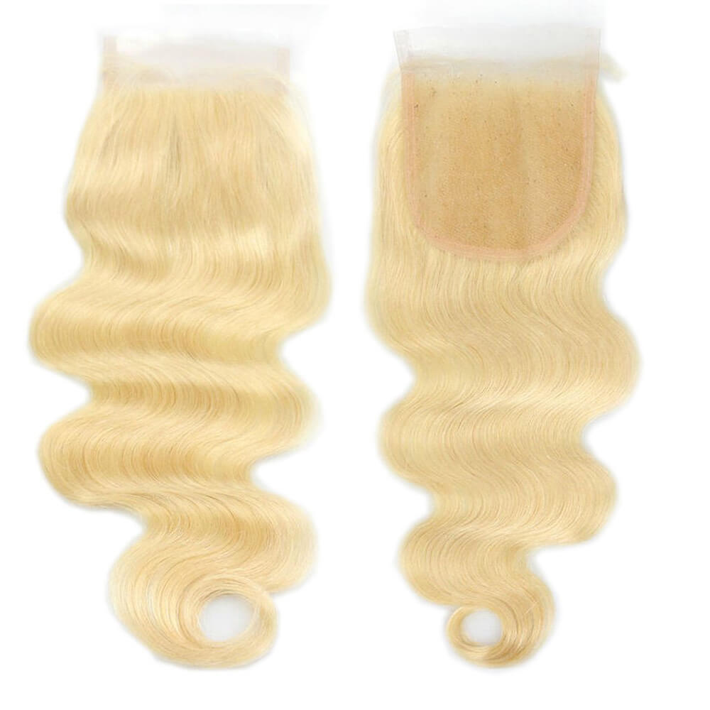 Body Wave Bleach Blonde #613 Lace Closure With Baby Hair