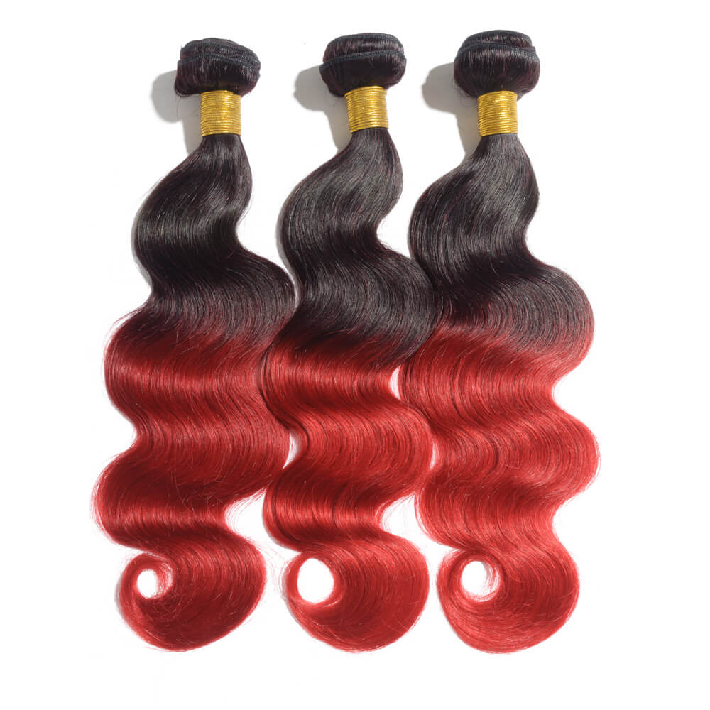Body Wave 1B/Red Two Tone Color Ombre Hair Weave