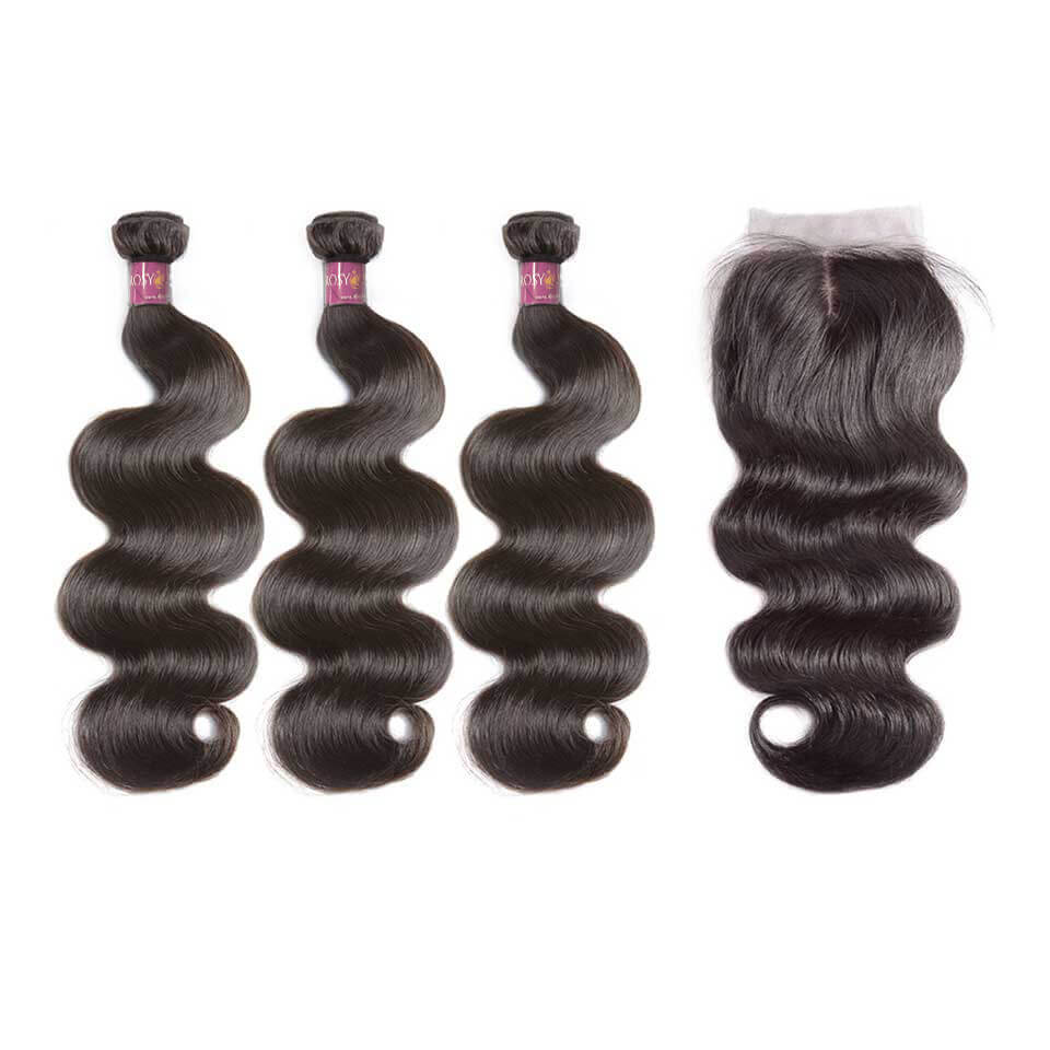 Lace Closure With 3 Bundles Body Wave Virgin Brazilian Hair Weaves