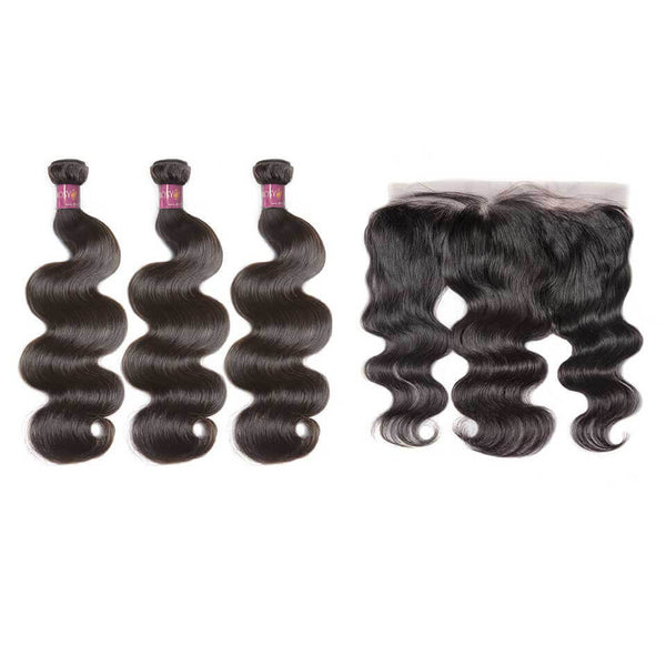 Body Wave Brazilian Hair 3 Bundles With Lace Frontal