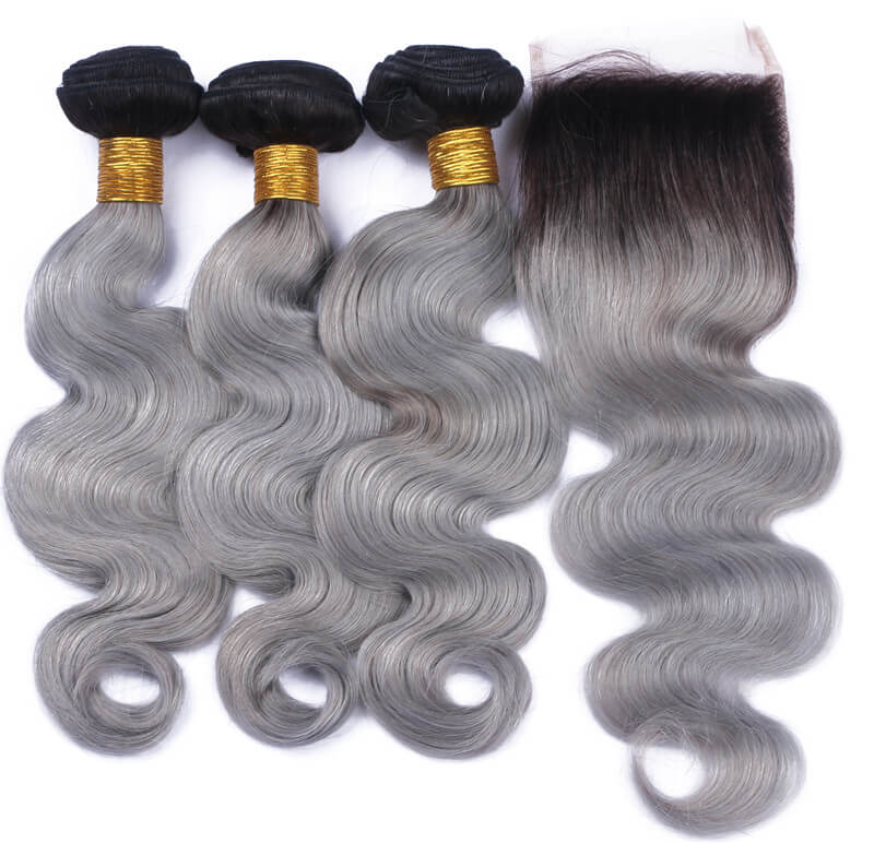 Straight/Body Wave #1B/Silver Grey Two Tone Colored Ombre Hair 100% Human Hair Weave Extensions