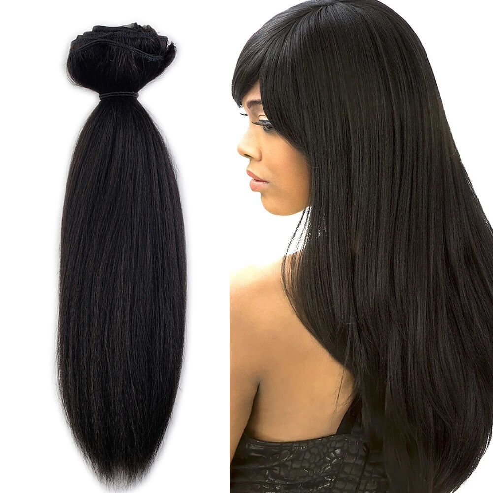 Coarse Yaki Clip In Hair Extensions Natural Black