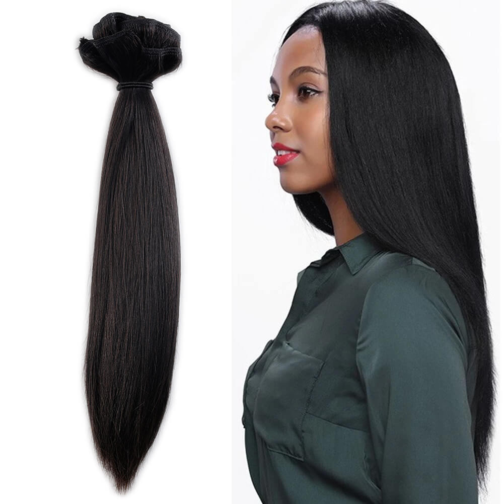 Clip In Hair Extensions Light Yaki Natural Black