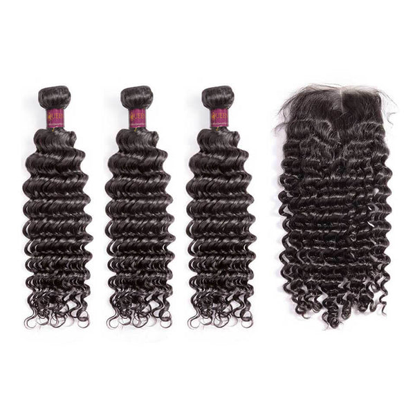 Lace Closure With 3 Bundles Deep Wave Virgin Brazilian Hair Weaves