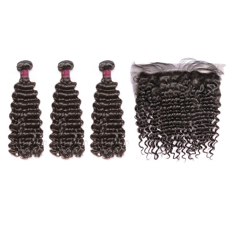 Deep Wave Brazilian Hair 3 Bundles With Lace Frontal