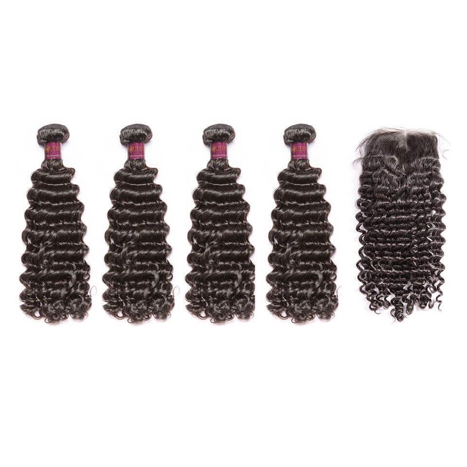 Deep Wave Brazilian Hair 4 Bundles With Lace Closure