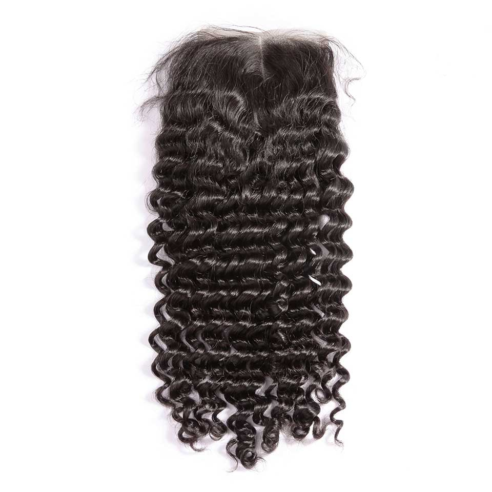 Deep Wave Natural Black 4x4 Lace Closure With Baby Hair