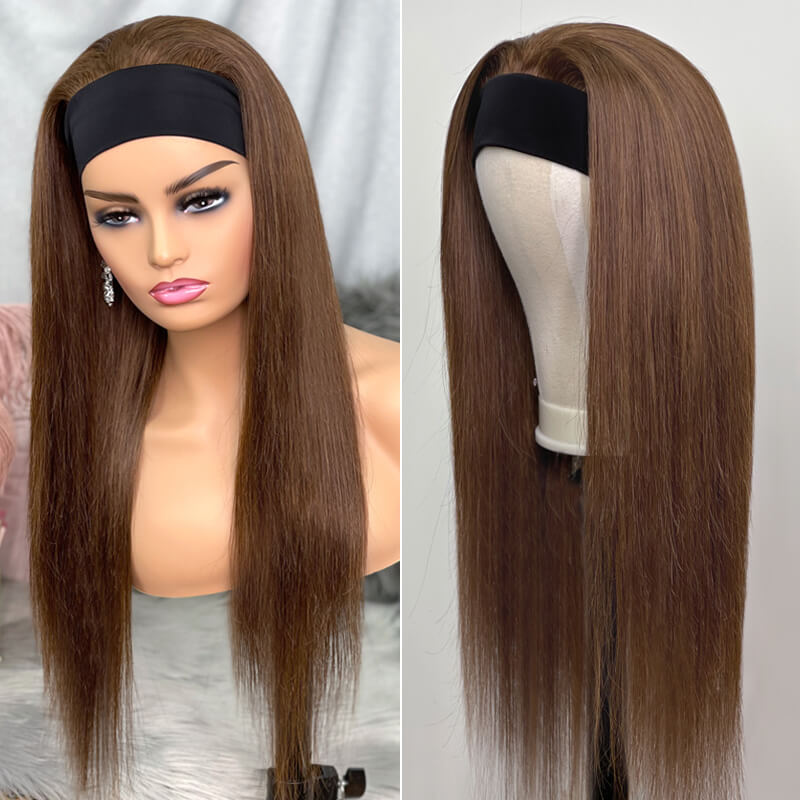 Headband Wig #4 Medium Brown Silk Straight 150% Density Glueless Human Hair Wig Affordable Price (Get Five Free Headbands)