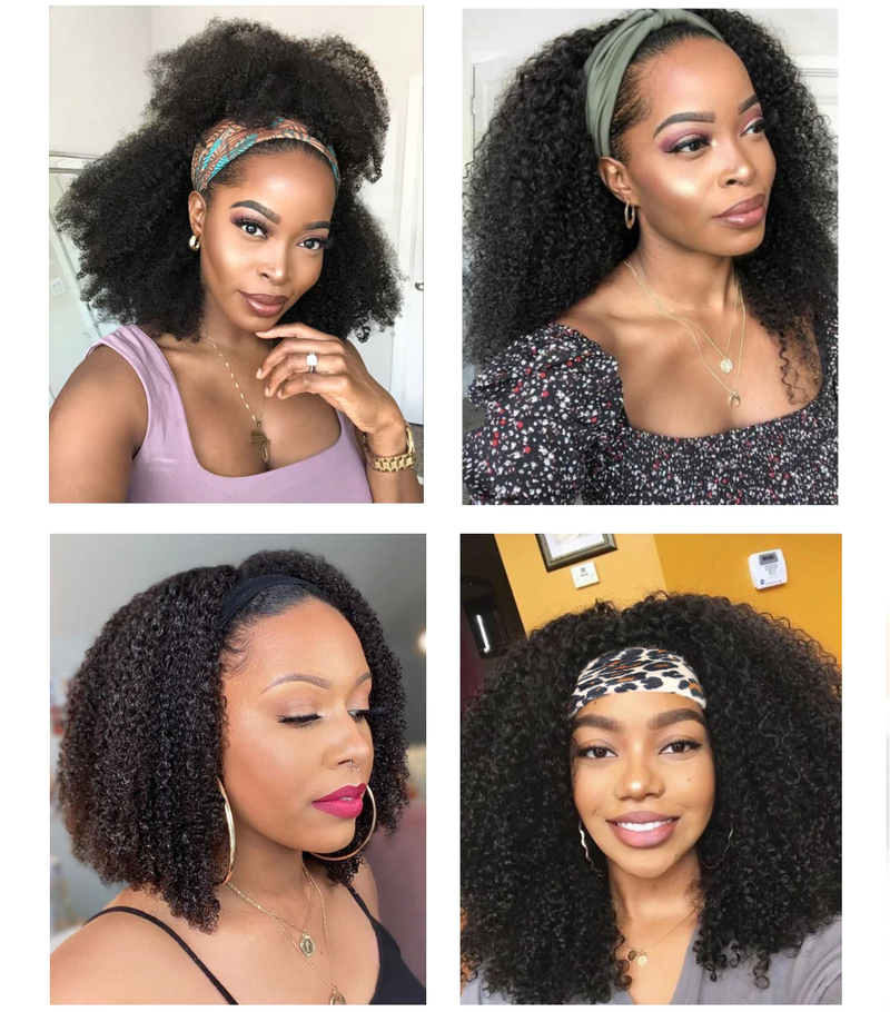 HeadbandsWig Afro Kinky Curly 150% Density Glueless Human Hair Wig Affordable Price (Get Five Free Headbands)