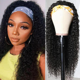 HeadbandsWig Deep Curly 150% Density Glueless Human Hair Wig Affordable Price (Get Five Free Headbands)
