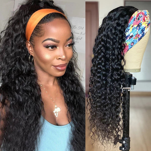 HeadbandsWig Water Wave Glueless Human Hair Wig 150% Density Affordable Price (Get Five Free Headbands)